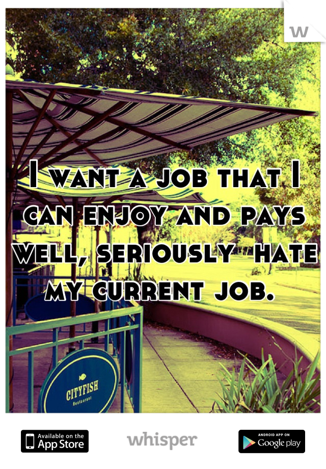 I want a job that I can enjoy and pays well, seriously  hate my current job.