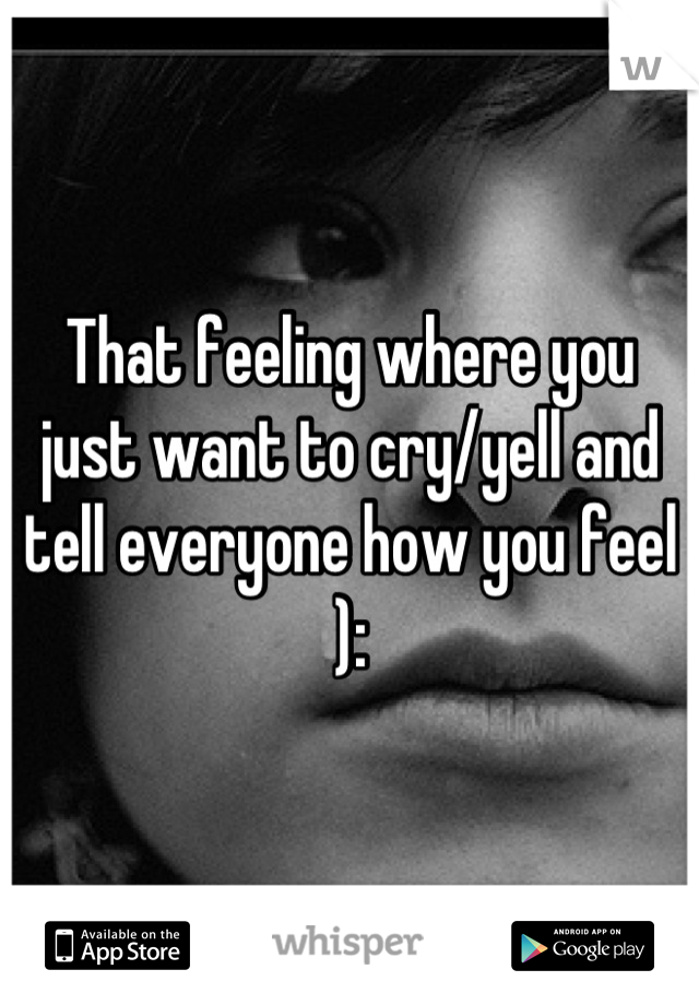 That feeling where you just want to cry/yell and tell everyone how you feel ):