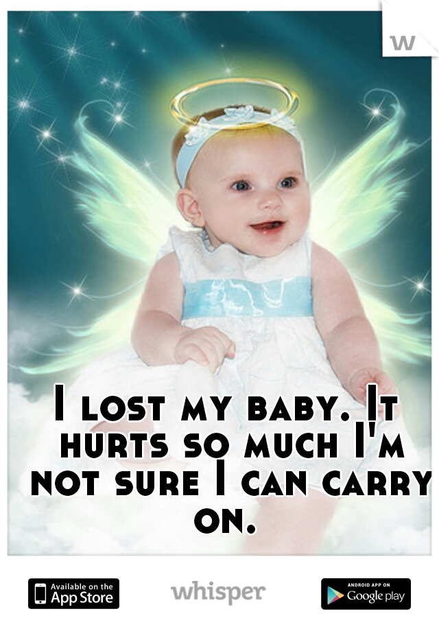 I lost my baby. It hurts so much I'm not sure I can carry on.