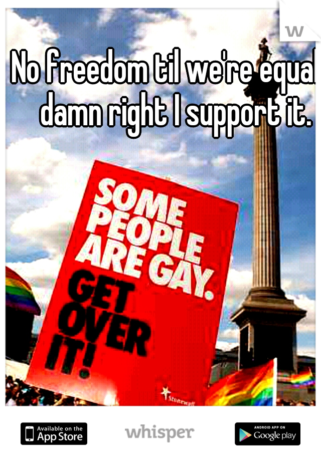 No freedom til we're equal,  damn right I support it.