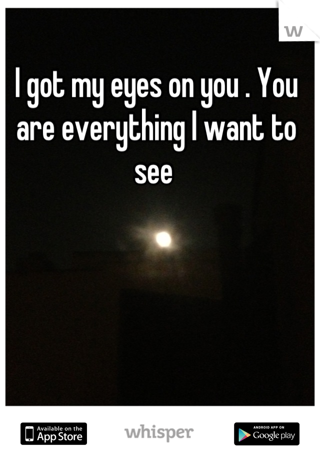 I got my eyes on you . You are everything I want to see