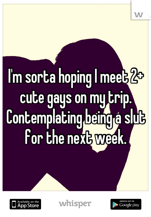 I'm sorta hoping I meet 2+ cute gays on my trip. Contemplating being a slut for the next week.