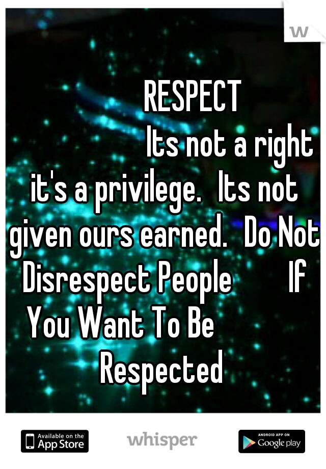 RESPECT             Its not a right it's a privilege. Its not given ours earned. Do Not Disrespect People       If You Want To Be             Respected