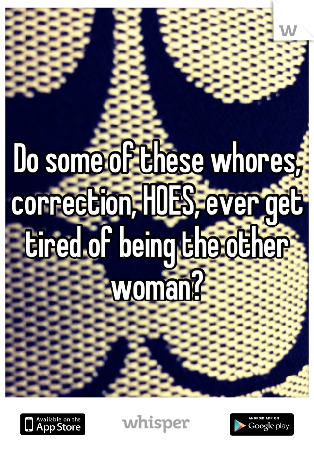 Do some of these whores, correction, HOES, ever get tired of being the other woman?