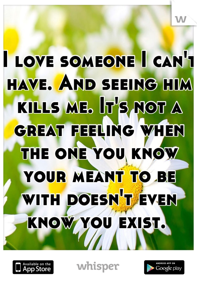 I love someone I can't have. And seeing him kills me. It's not a great feeling when the one you know your meant to be with doesn't even know you exist.