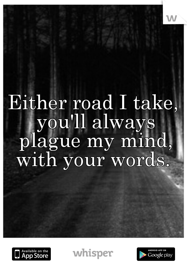 Either road I take, you'll always plague my mind, with your words.