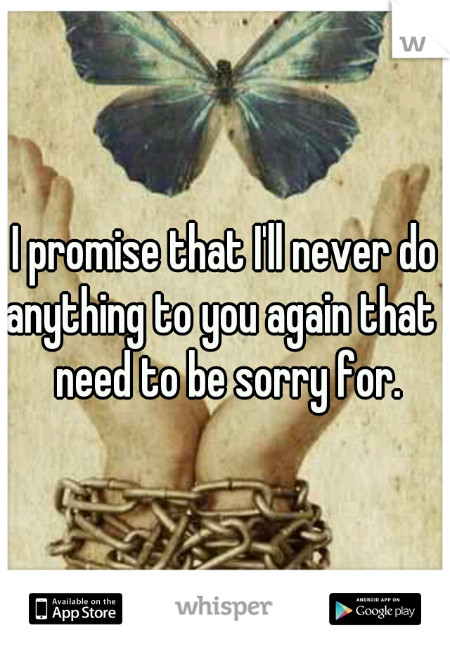 I promise that I'll never do anything to you again that I need to be sorry for.