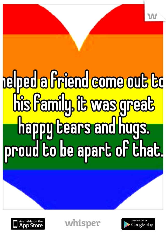 helped a friend come out to his family. it was great happy tears and hugs. proud to be apart of that.