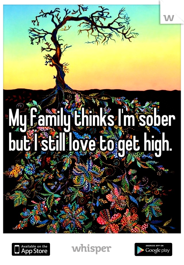 My family thinks I'm sober but I still love to get high.