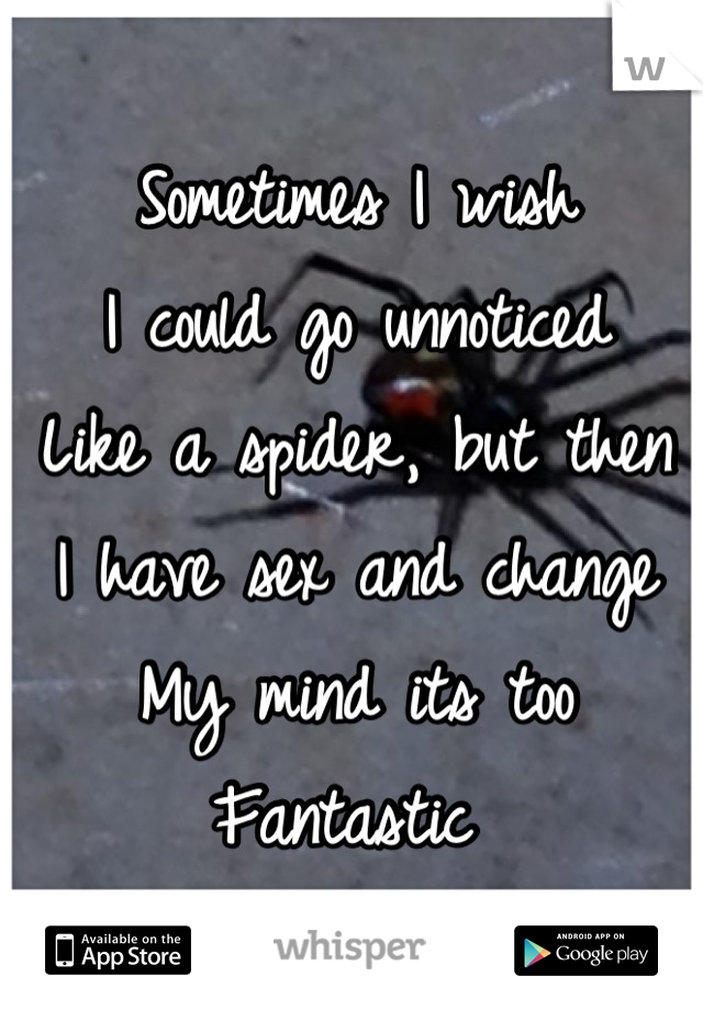 Sometimes I wish I could go unnoticed Like a spider, but then  I have sex and change  My mind its too  Fantastic