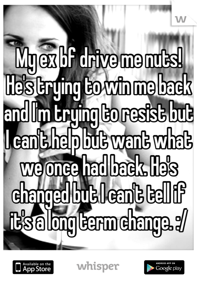 My ex bf drive me nuts! He's trying to win me back and I'm trying to resist but I can't help but want what we once had back. He's changed but I can't tell if it's a long term change. :/