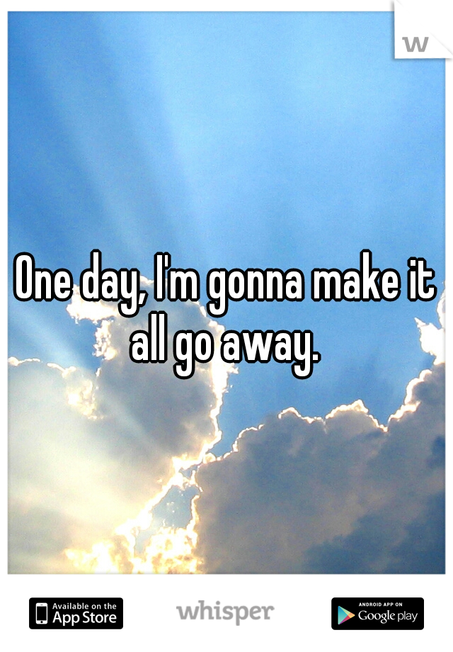 One day, I'm gonna make it all go away.