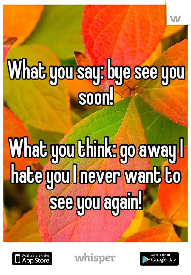 What you say: bye see you soon!  What you think: go away I hate you I never want to see you again!