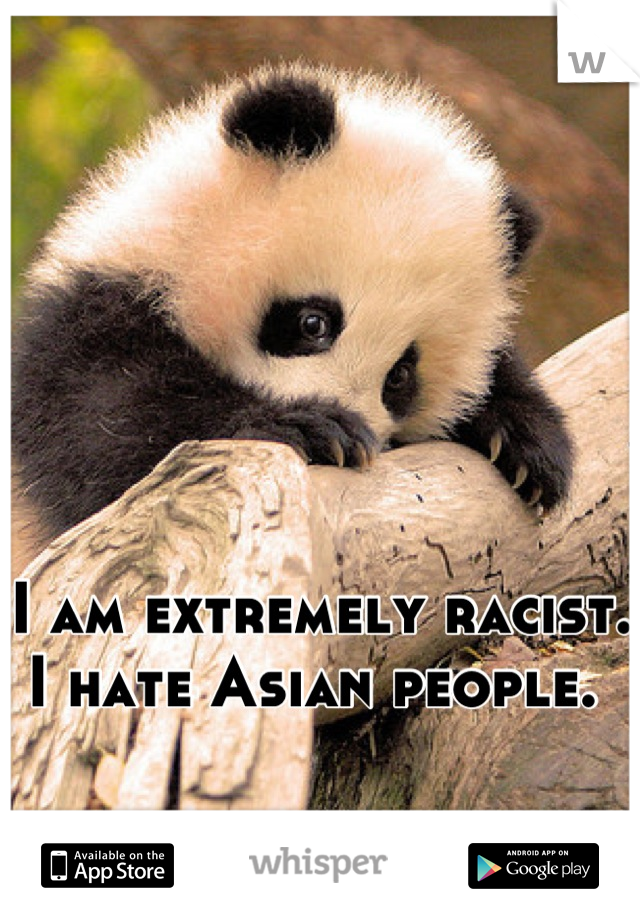 I am extremely racist.  I hate Asian people.