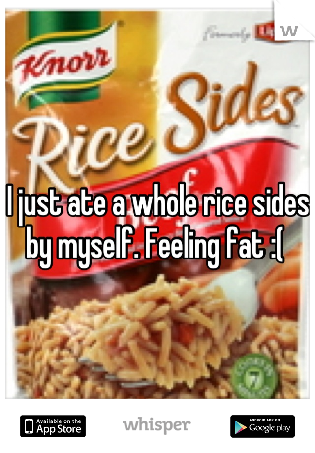 I just ate a whole rice sides by myself. Feeling fat :(