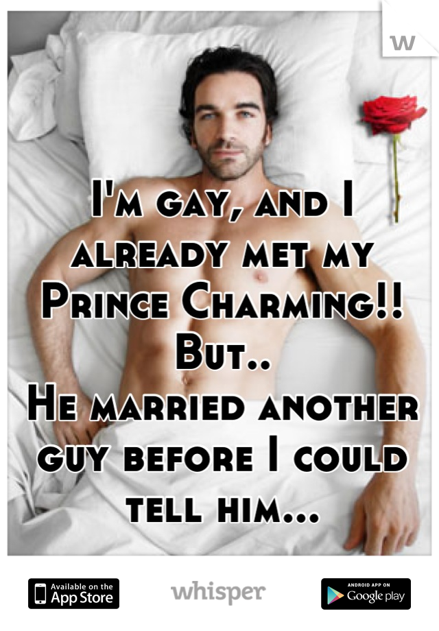 I'm gay, and I already met my Prince Charming!!  But.. He married another guy before I could tell him...