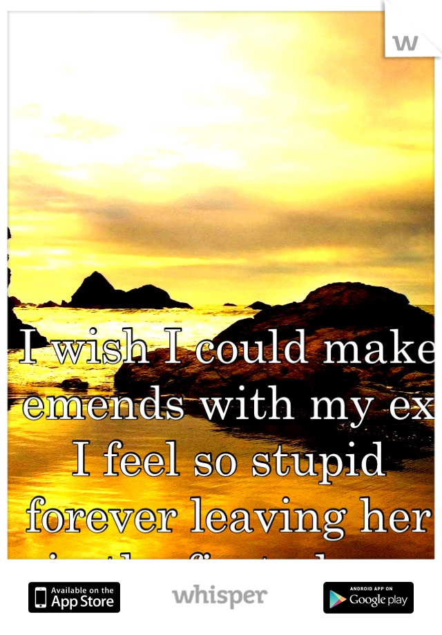 I wish I could make emends with my ex I feel so stupid forever leaving her in the first place