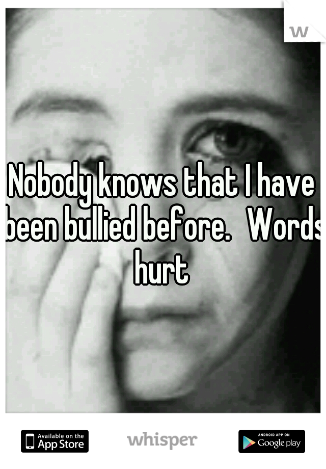 Nobody knows that I have been bullied before. Words hurt