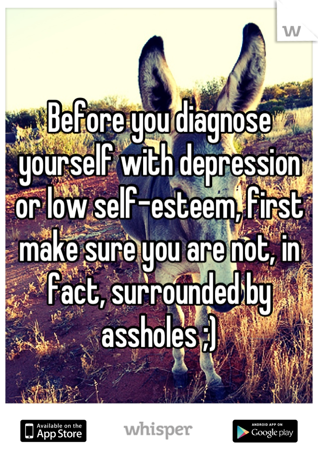 Before you diagnose yourself with depression or low self-esteem, first make sure you are not, in fact, surrounded by assholes ;)