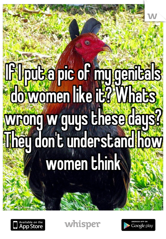 If I put a pic of my genitals do women like it? Whats wrong w guys these days? They don't understand how women think