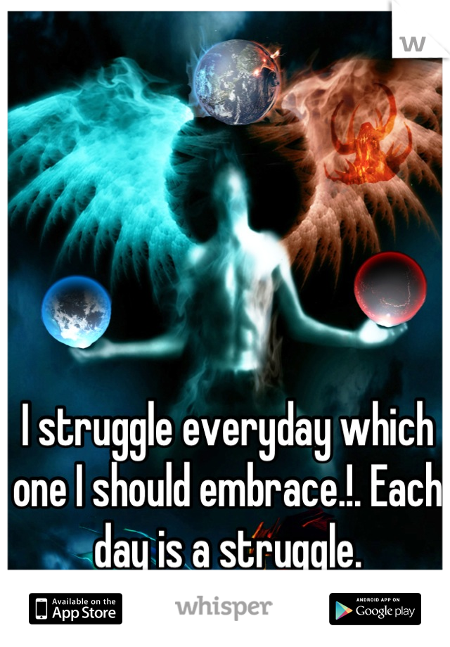 I struggle everyday which one I should embrace.!. Each day is a struggle.