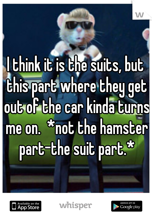 I think it is the suits, but this part where they get out of the car kinda turns me on.  *not the hamster part-the suit part.*