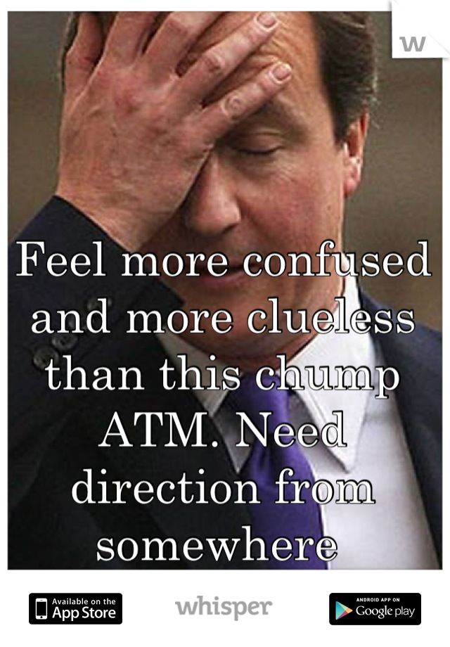 Feel more confused and more clueless than this chump ATM. Need direction from somewhere