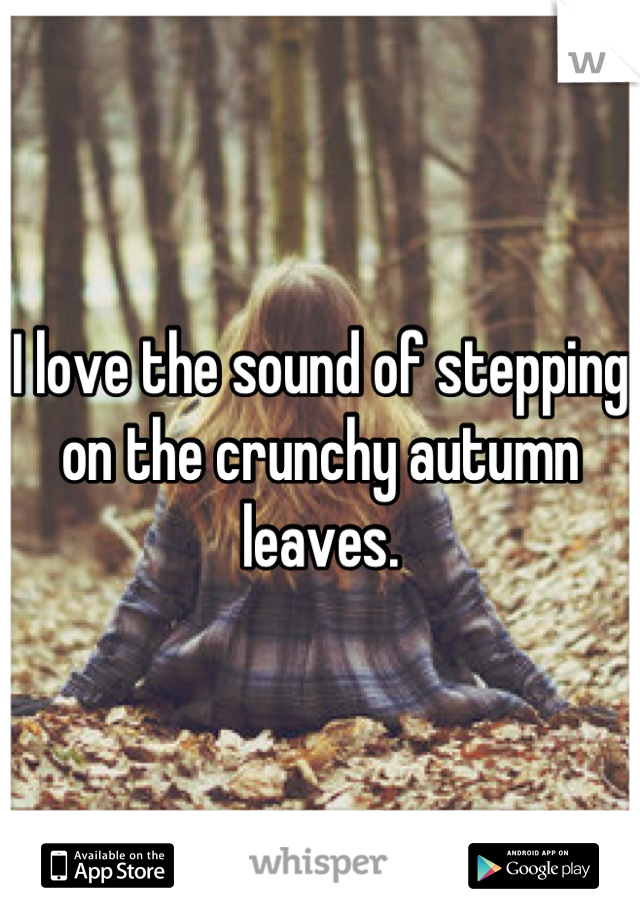 I love the sound of stepping on the crunchy autumn leaves.
