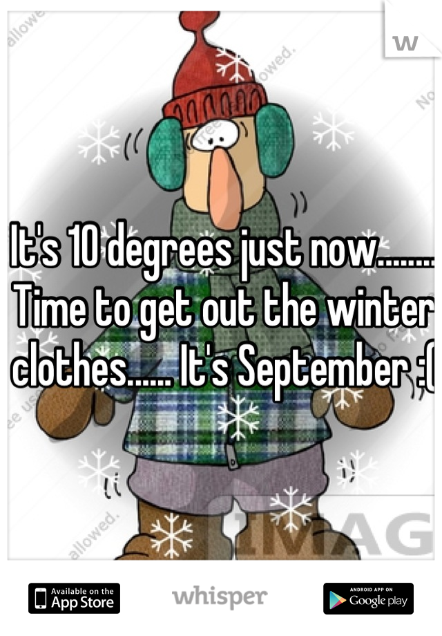 It's 10 degrees just now........ Time to get out the winter clothes...... It's September :(