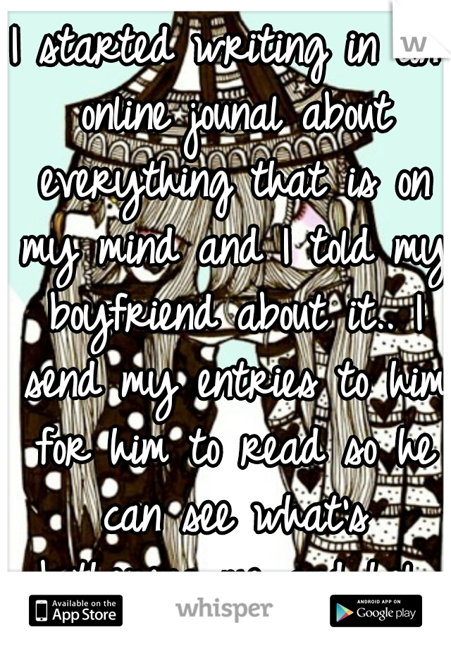 I started writing in an online jounal about everything that is on my mind and I told my boyfriend about it.. I send my entries to him for him to read so he can see what's bothering me and help me :)