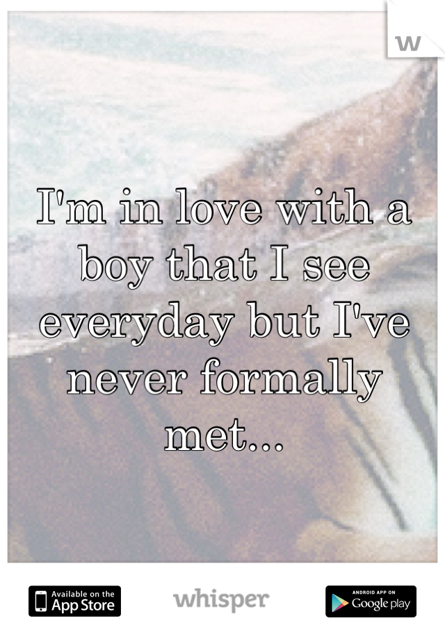 I'm in love with a boy that I see everyday but I've never formally met...