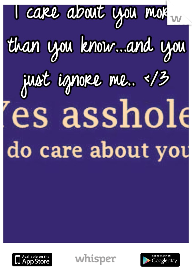 I care about you more than you know...and you just ignore me.. </3