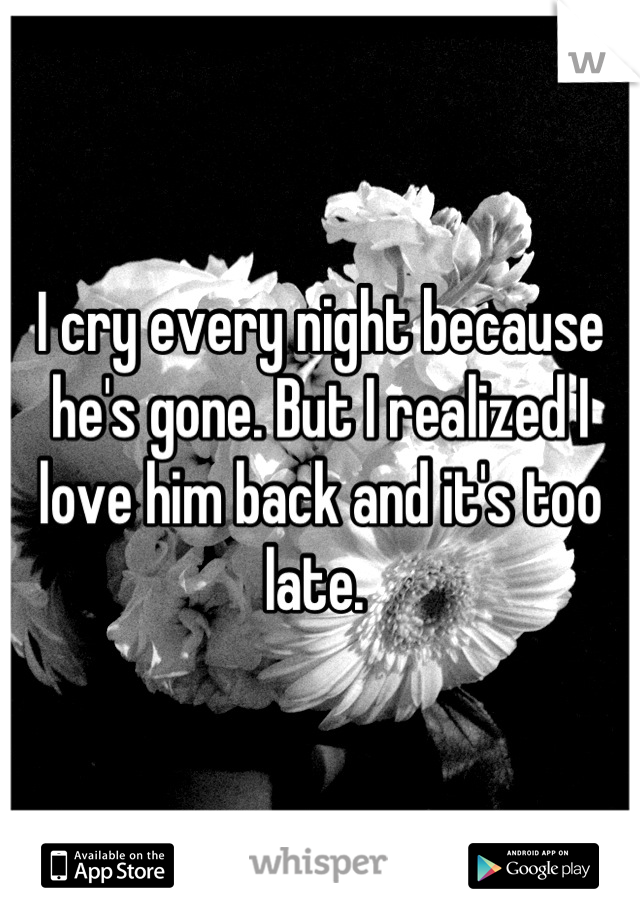 I cry every night because he's gone. But I realized I love him back and it's too late.