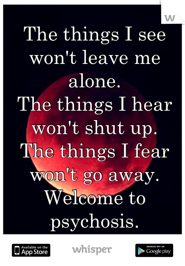 The things I see won't leave me alone. The things I hear won't shut up. The things I fear won't go away. Welcome to psychosis.