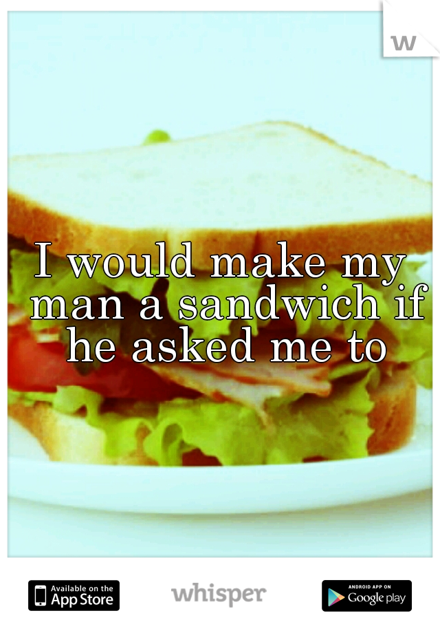 I would make my man a sandwich if he asked me to