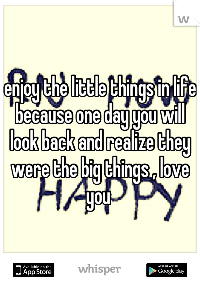 enjoy the little things in life because one day you will look back and realize they were the big things , love you