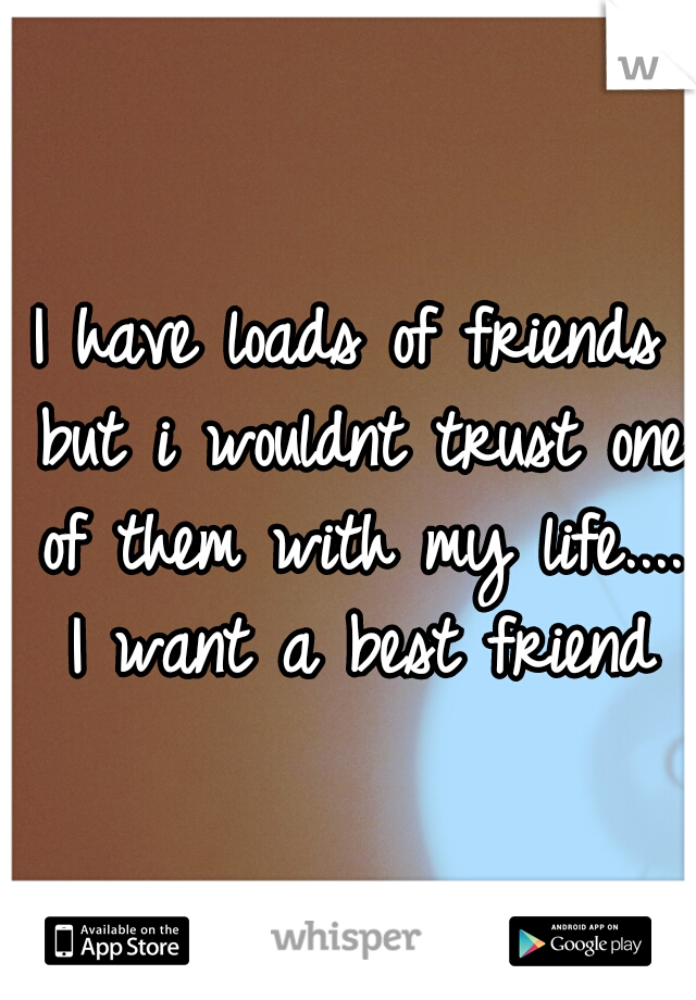 I have loads of friends but i wouldnt trust one of them with my life.... I want a best friend