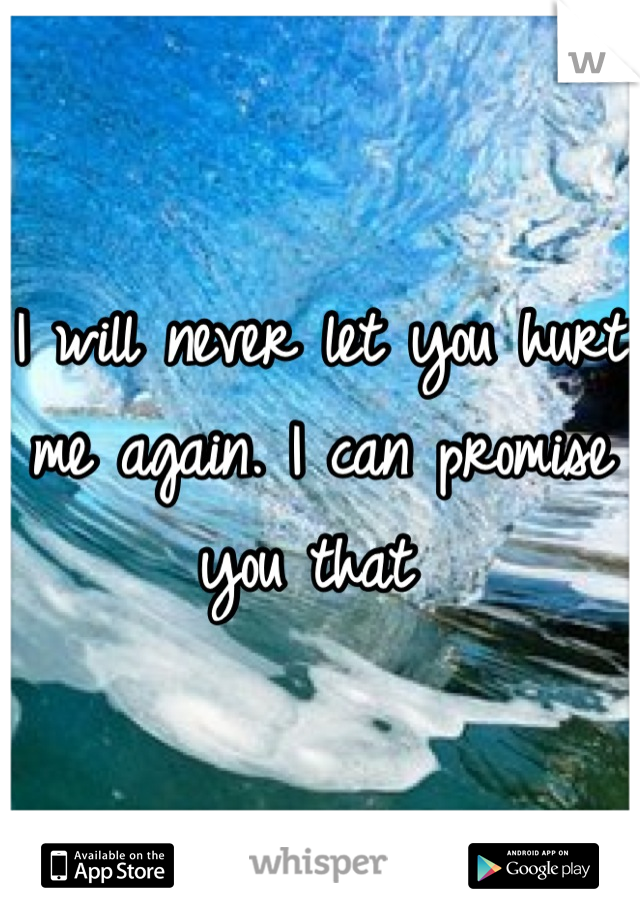 I will never let you hurt me again. I can promise you that