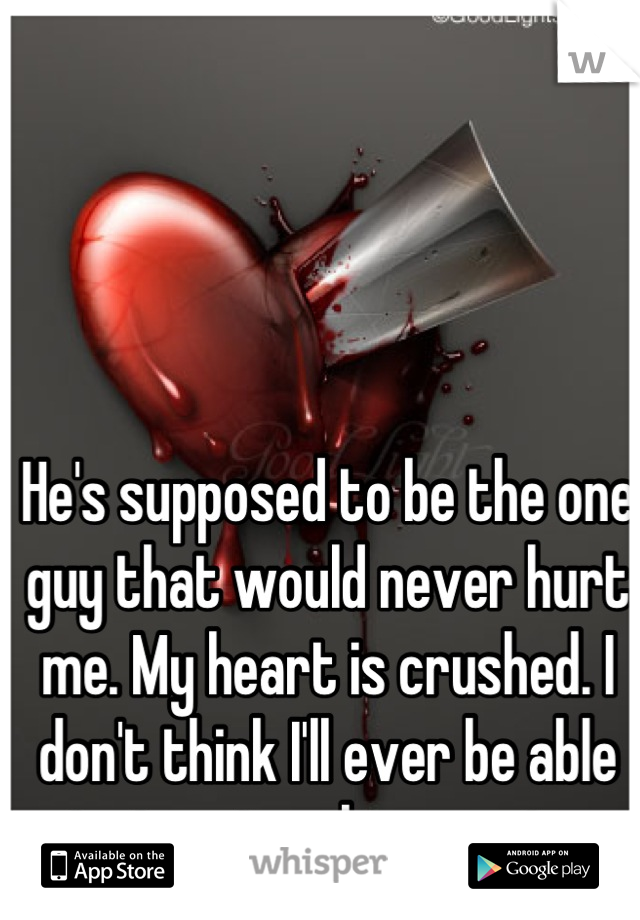 He's supposed to be the one guy that would never hurt me. My heart is crushed. I don't think I'll ever be able to trust or love again.