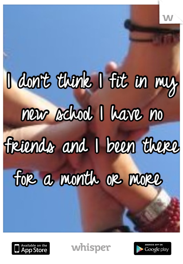 I don't think I fit in my new school I have no friends and I been there for a month or more
