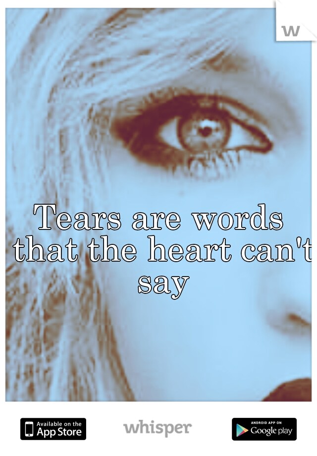 Tears are words that the heart can't say