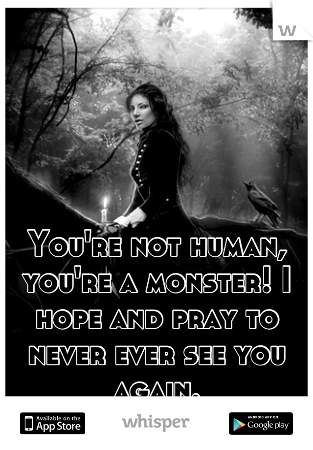 You're not human, you're a monster! I hope and pray to never ever see you again.