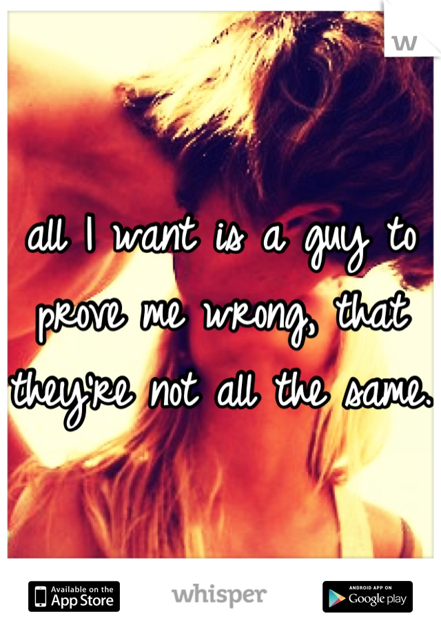 all I want is a guy to prove me wrong, that they're not all the same.