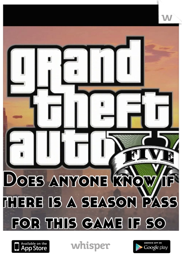 Does anyone know if there is a season pass for this game if so how much is it