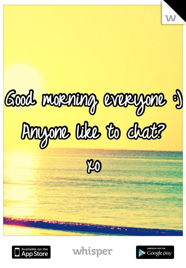 Good morning everyone :) Anyone like to chat? xo
