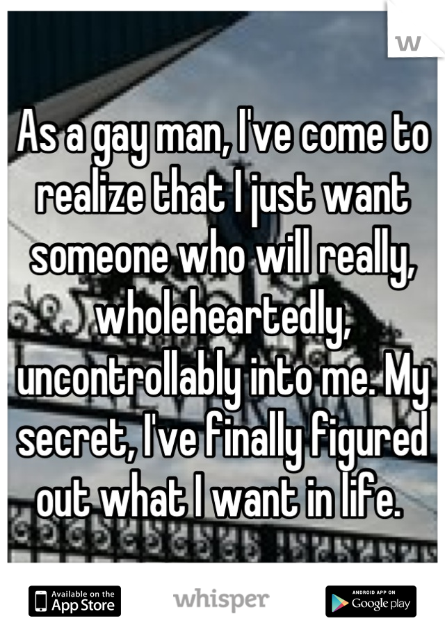As a gay man, I've come to realize that I just want someone who will really, wholeheartedly, uncontrollably into me. My secret, I've finally figured out what I want in life.