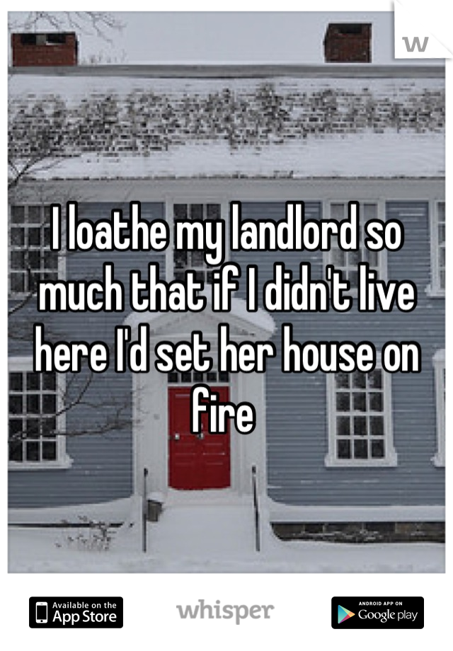 I loathe my landlord so much that if I didn't live here I'd set her house on fire
