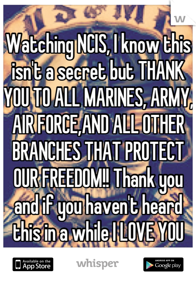 Watching NCIS, I know this isn't a secret but THANK YOU TO ALL MARINES, ARMY, AIR FORCE,AND ALL OTHER BRANCHES THAT PROTECT OUR FREEDOM!! Thank you and if you haven't heard this in a while I LOVE YOU