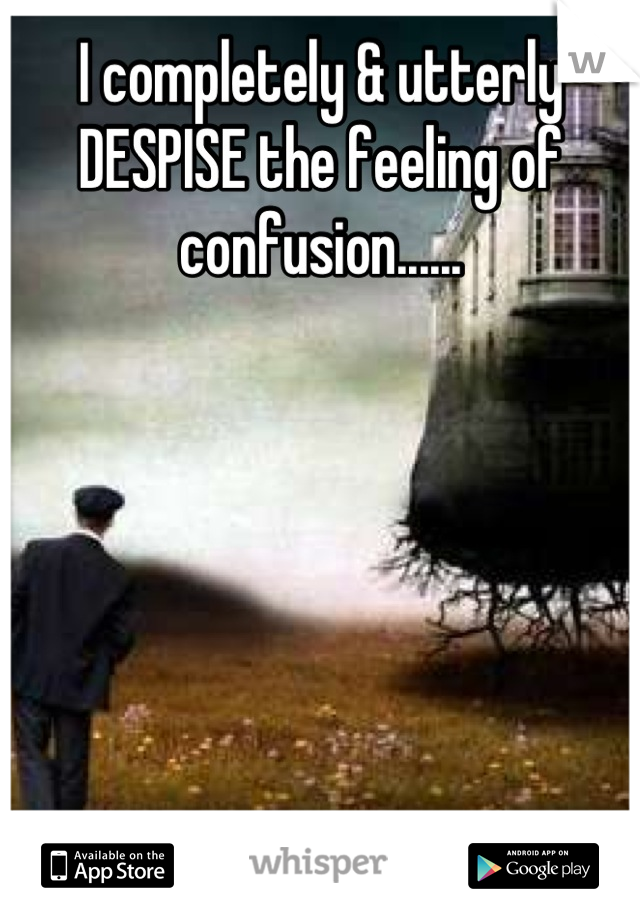 I completely & utterly DESPISE the feeling of confusion......