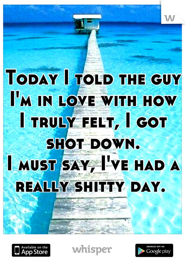 Today I told the guy I'm in love with how I truly felt, I got shot down.  I must say, I've had a really shitty day.